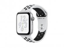 APPLE Watch Nike+ Series 4, 44 mm, pouzdro ze stříbrného hliníku s platinovým/černým sportovním řemínkem