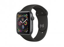 APPLE Watch Series 4, 44 mm, pouzdro z vesmírně šedého hliníku s černým sportovním řemínkem