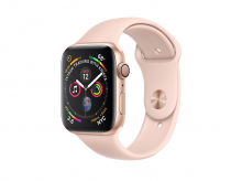 APPLE Watch Series 4, 44 mm, pouzdro ze zlatého hliníku s pískově růžovým sportovním řemínkem
