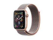 APPLE Watch Series 4, 44 mm, pouzdro ze zlatého hliníku s pískově růžovým provlékacím sportovním řemínkem