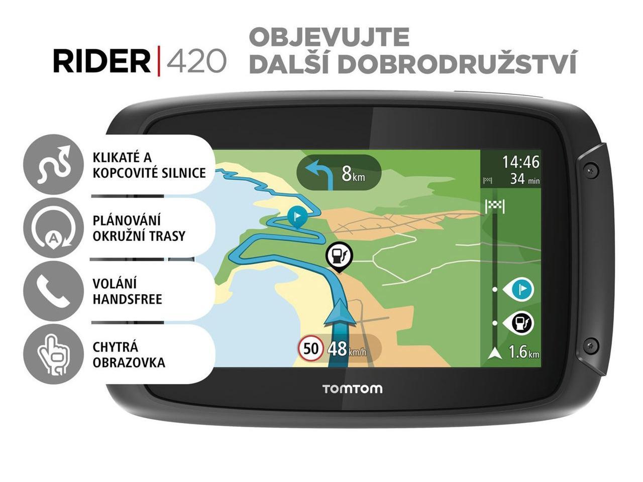 TOMTOM Rider 420 EU Lifetime + 400 Kč na dárky nebo další nákup   CHAT on-line podpora PO-PÁ 8-22.00!!
