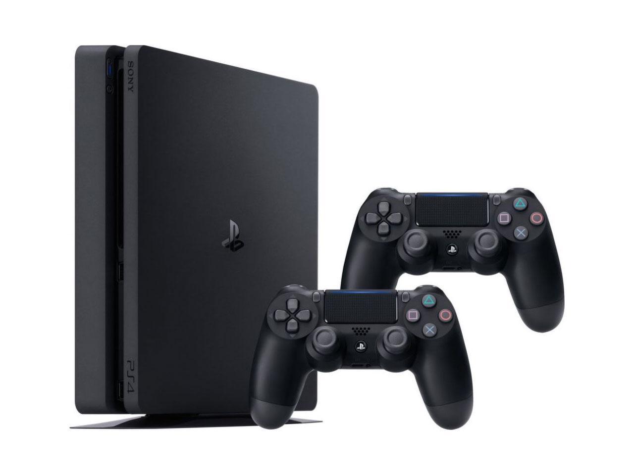 SONY Playstation 4 Slim 1TB + 2x ovladač DualShock 4, černá