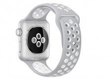 APPLE Watch Nike+ Series 2, 42 mm, pouzdro ze stříbrného hliníku s platinově bílým sportovním řemínkem (MQ192CN/A)