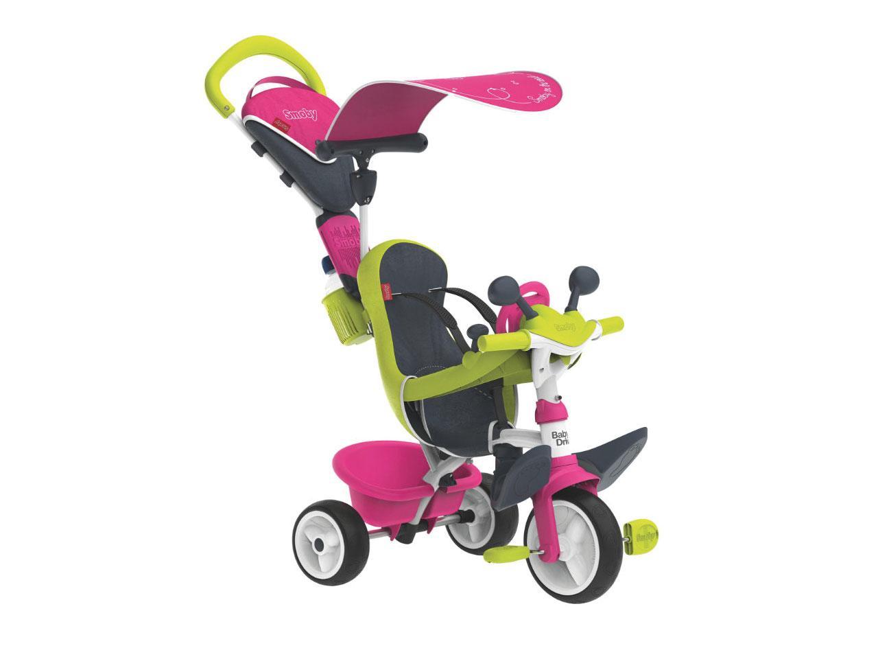 Tříkolka SMOBY Baby Driver Comfort, růžová/zelená