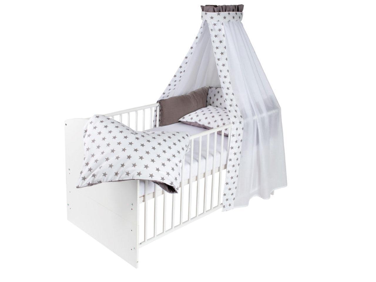 SCHARDT Postýlka s textilní výbavou classic, bílá Big Stars šedá, 60 x 120 cm