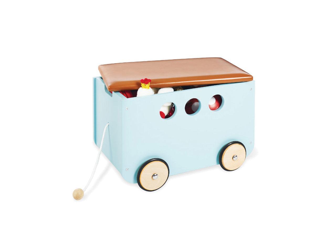 Chodítko PINOLINO Jim krabice na hračky na kolečkách, mentolová