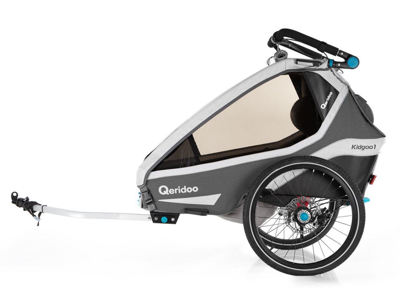 Cyklistický vozík QERIDOO KidGoo 1 Sport, antracit + AKCE CASHBACK 10%