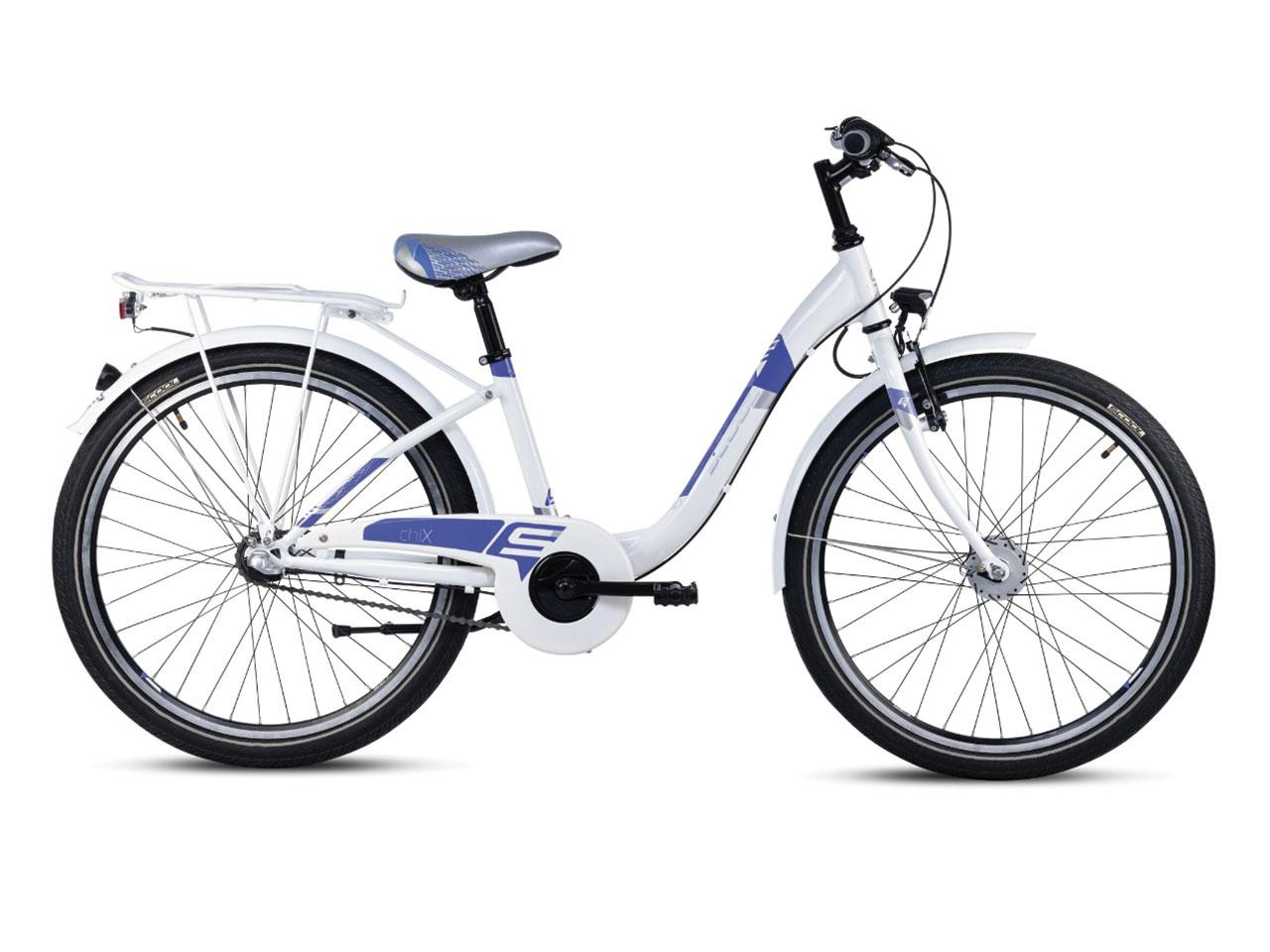 Dětské kolo S´COOL chiX 24 steel 3-rychlosti, bílá/fialová