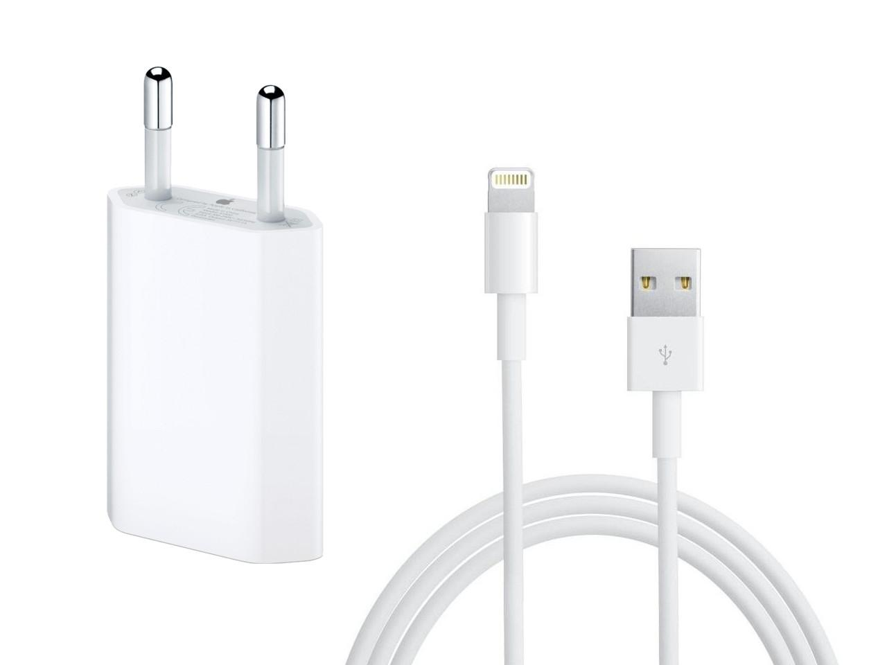 Nabíjecí sada pro Apple iPhone, iPad, adapter + kabel Lightning, 1m, bilý