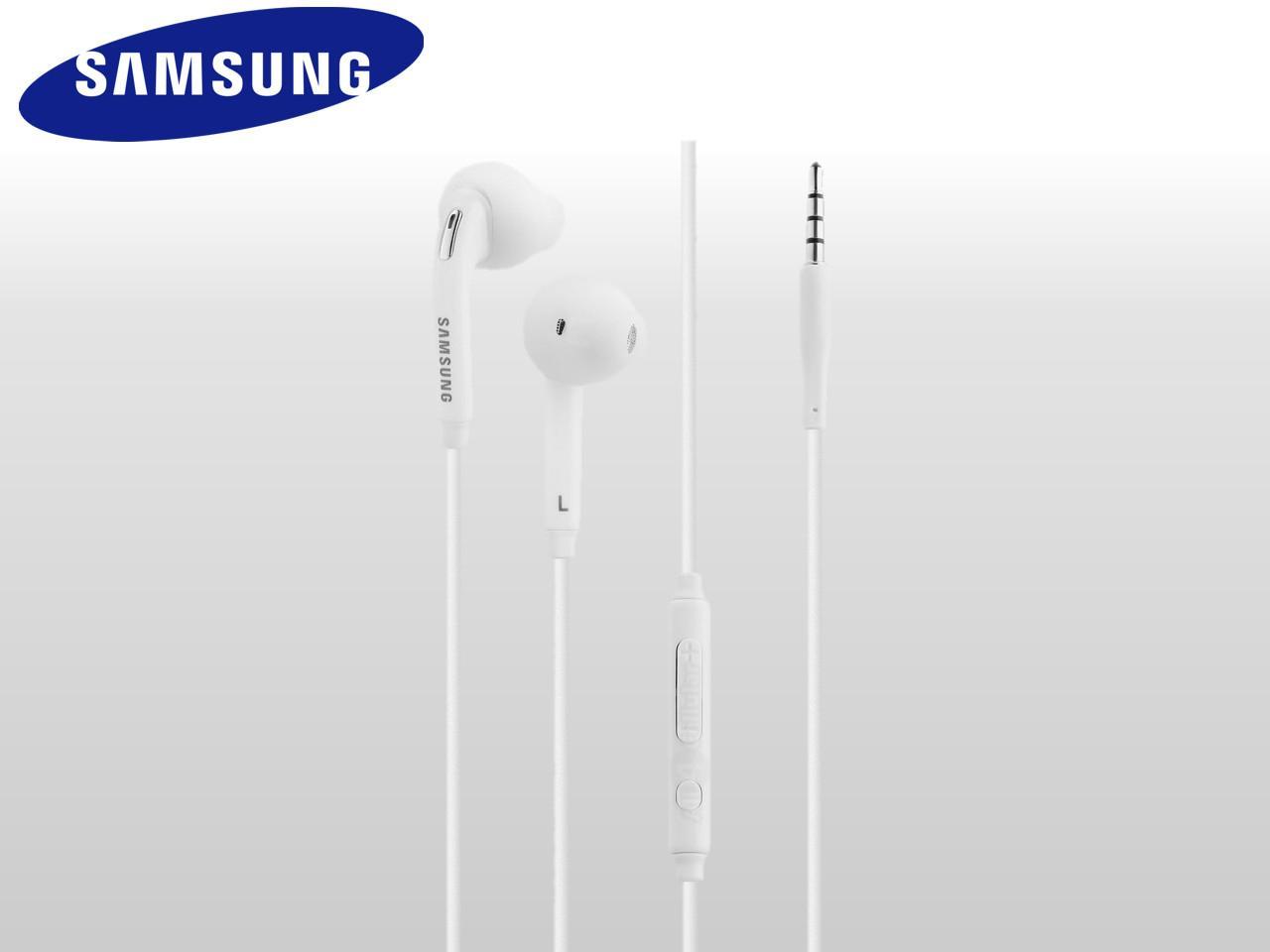 Sluchátka s ovládáním a mikrofonem pro Samsung zařízení, bílá